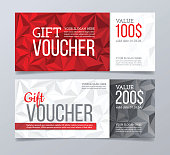 Gift voucher template design and abstract polygonal background.