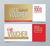 Gift voucher template design and geometric pattern background.