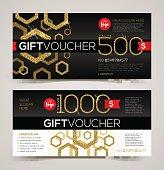 Gift voucher template design with glitter gold