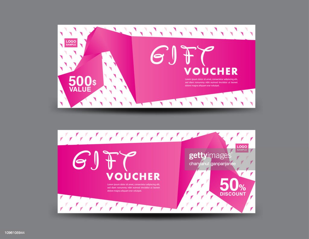 Gift Voucher template layout, business flyer design, pink coupon, ticket, Discount card, banner vector illustration, Valentine's Day sale banner