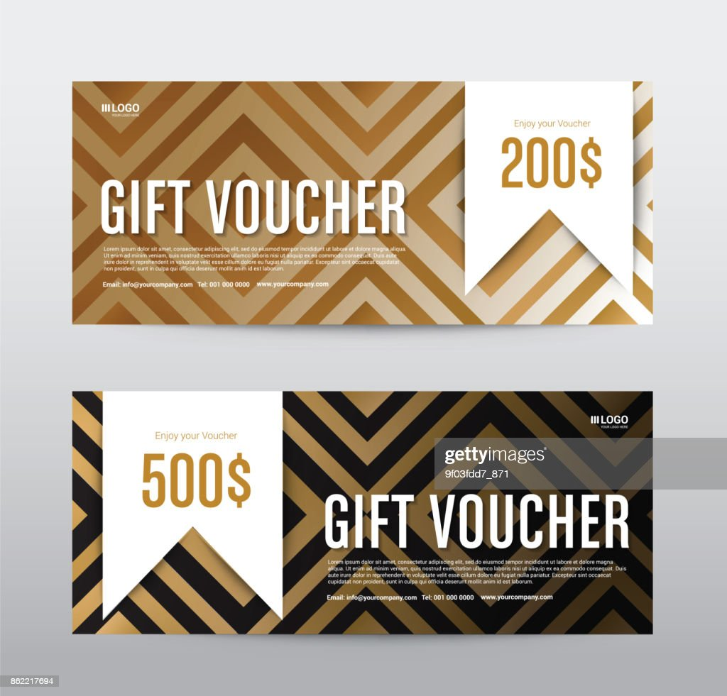 Gift Voucher Template Promotion Sale discount, Gold background, vector illustration