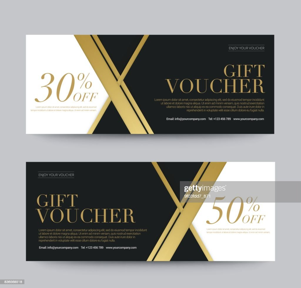 Gift Voucher Template Promotion Sale discount, Golden style black and white background, vector illustration