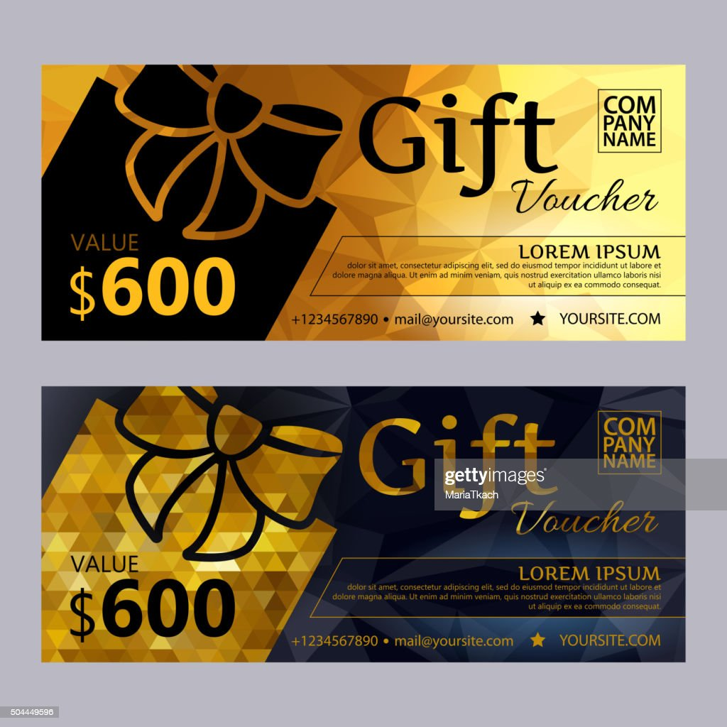 Gift voucher template set with mosaic background