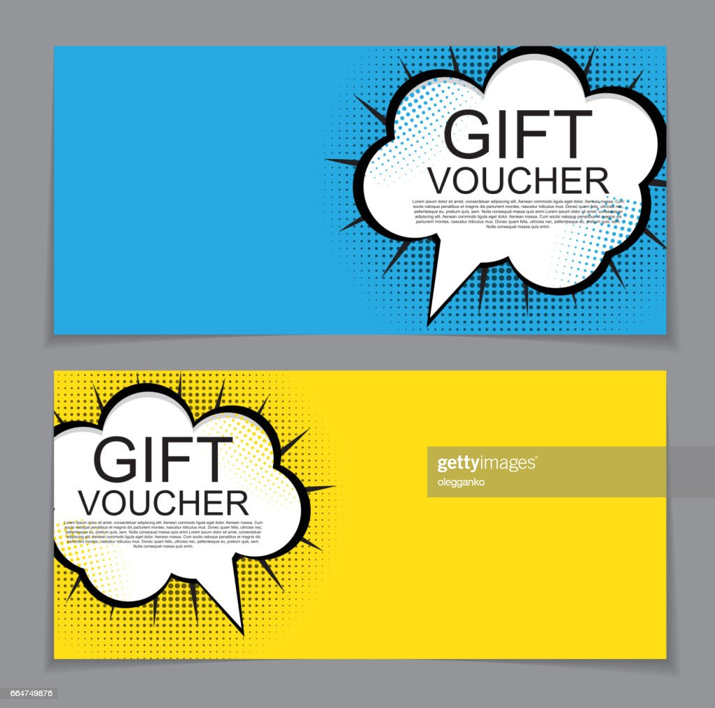 Gift Voucher Template with cartoon Background. Discount Coupon