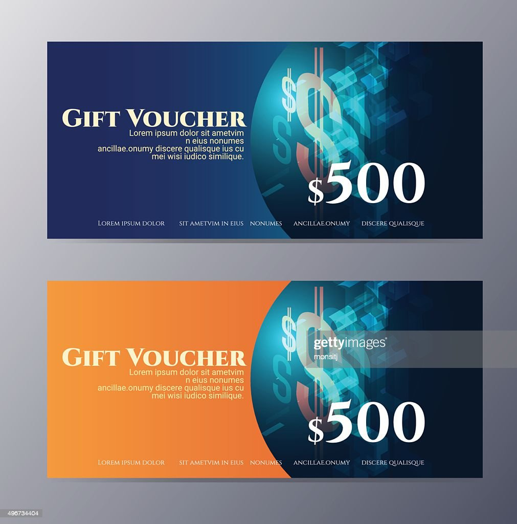 Gift voucher template with colorful modern style