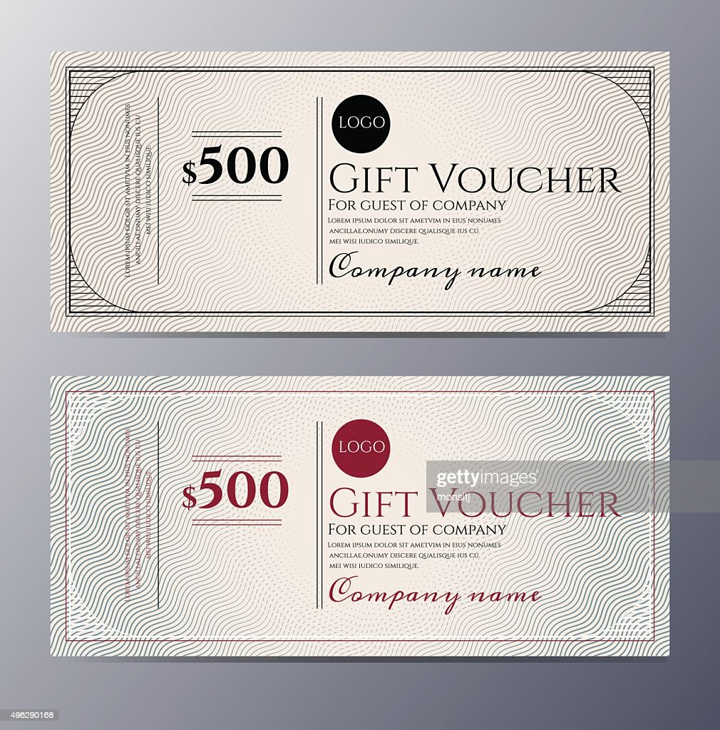 Gift Voucher Template With Colorful Pattern  Money Voucher Template