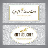 Gift voucher template with embossed pattern