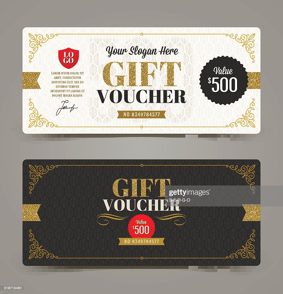 Gift voucher template with glitter gold, Vector illustration.