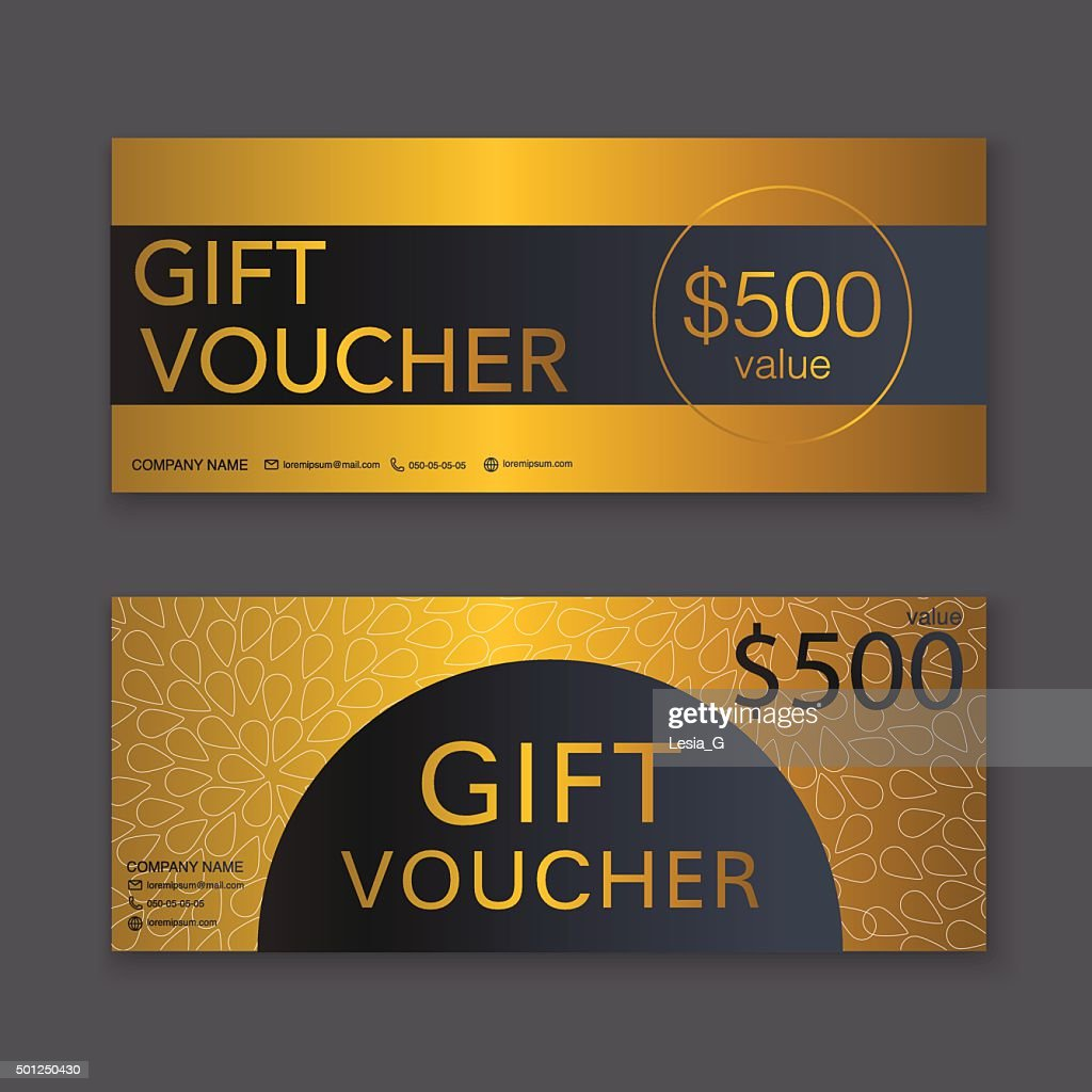 Gift Voucher Template With Gold Pattern Gift Certificate Backg