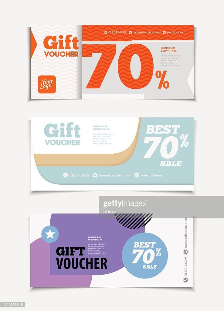 Gift voucher vector set. Sale voucher vector illustration.