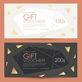 Gift voucher with geometric gold decor.