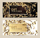 Gift voucher with gold ribbons, serpentine and glitter. Christmas gift certificate.
