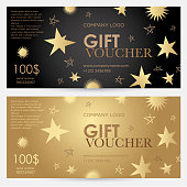 Gift voucher with gold stars. Christmas gift certificate.