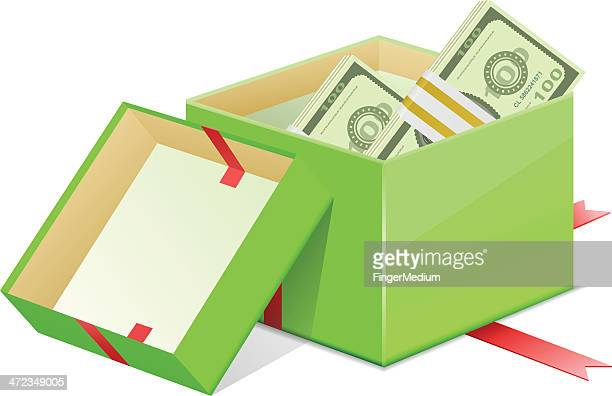 giftbox and currency - christmas cash stock illustrations