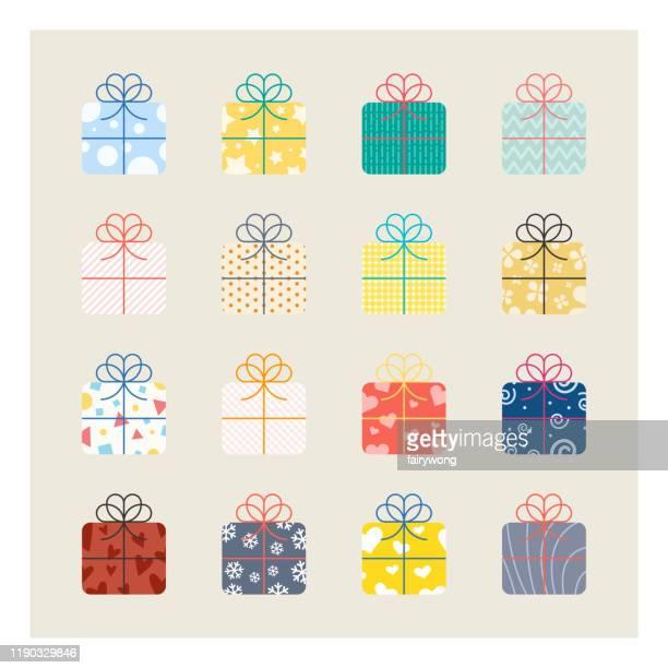giftbox icons - gift box stock illustrations