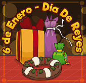 Gifts and King's Cake in Night of Dia de Reyes