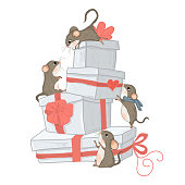 gifts and mouses, fashion animal vector illustration, character design for apparel.  greeting card.