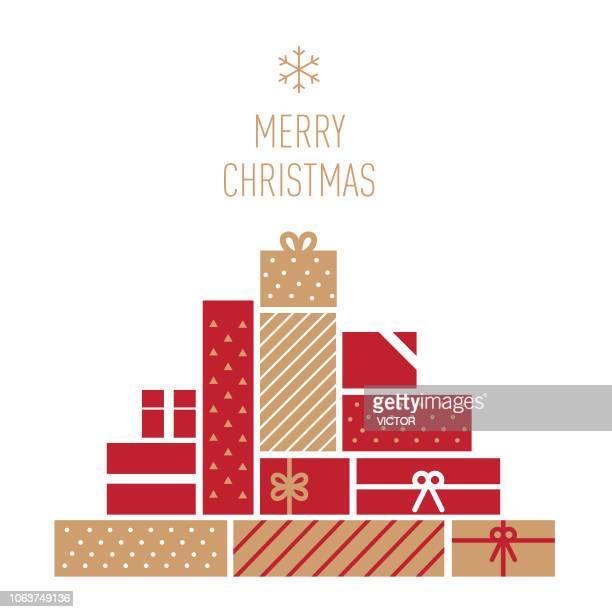 ilustraciones, imágenes clip art, dibujos animados e iconos de stock de serie de regalos - navidad - ilustración - caja de regalo