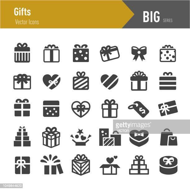 ilustraciones, imágenes clip art, dibujos animados e iconos de stock de regalos iconos - grandes series - caja de regalo