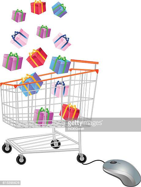 gifts in shopping trolley with mouse - online advertising stock illustrations, clip art, cartoons, & icons