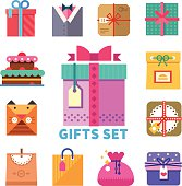 Gifts set in flat style
