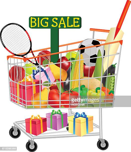 gifts vegetables and fruits in shopping trolley - online advertising stock illustrations, clip art, cartoons, & icons