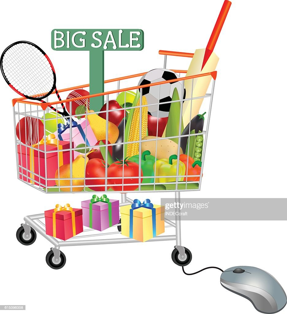 Gifts Vegetables And Fruits In Shopping Trolley With Mouse : stock illustration