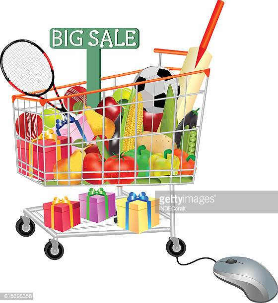 gifts vegetables and fruits in shopping trolley with mouse - online advertising stock illustrations, clip art, cartoons, & icons
