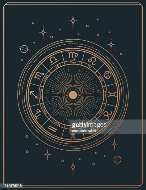gilded retro style line art astrology signs poster - astrology stock illustrations