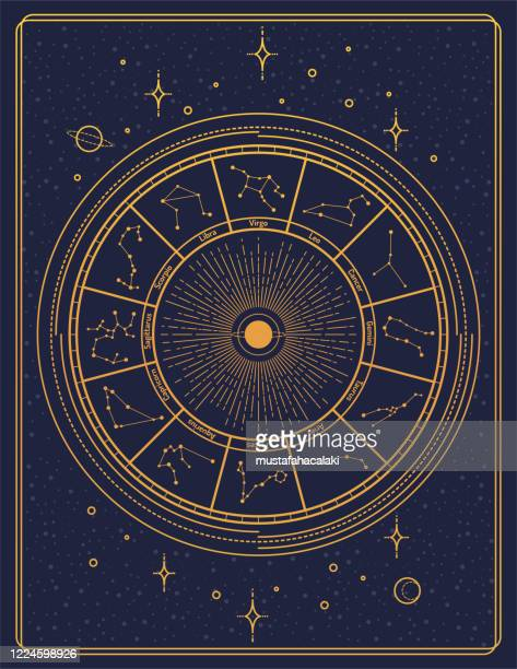 gilded retro style zodiac sign constellation poster - constellation stock illustrations