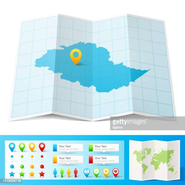 gilgit baltistan map with location pins isolated on white background - skardu stock illustrations