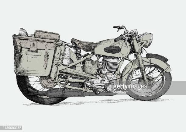 gillet vintage motorbike - vintage motorcycle stock illustrations