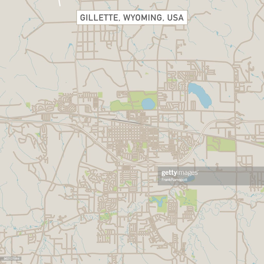 Gillette Wyoming Us City Street Map Stock Illustration Getty Images - Wyoming-us-map