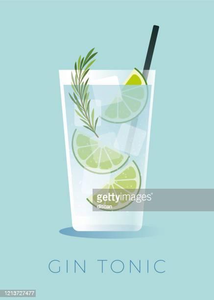 illustrazioni stock, clip art, cartoni animati e icone di tendenza di cocktail gin e tonico con cuneo di lime. - cocktail party
