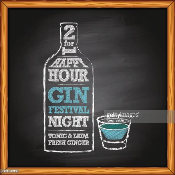 gin bottle and shot on blackboard - tequila drink stock illustrations, clip art, cartoons, & icons