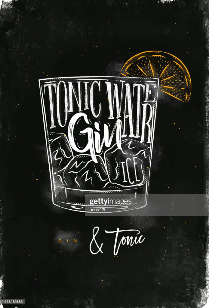 Gin tonic cocktail chalk color