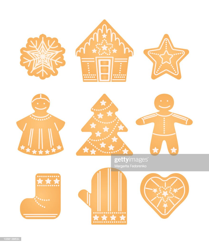Ginger biscuit. Christmas, new year, winter holidays traditional cookies set with angel, ginger man, Christmas tree, snowflake