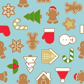 Ginger bread cookie in various shape , background for Christmas, seamless pattern