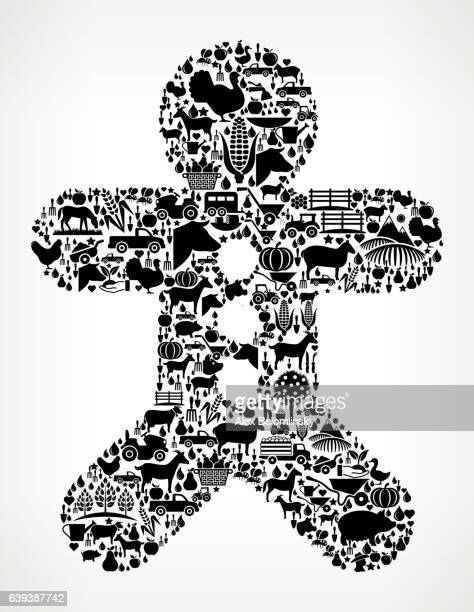 ginger bread man farming and agriculture black icon pattern - zea stock illustrations, clip art, cartoons, & icons