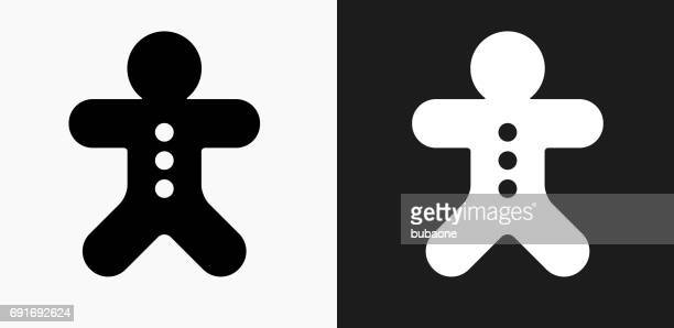 Ginger Bread Man Icon on Black and White Vector Backgrounds