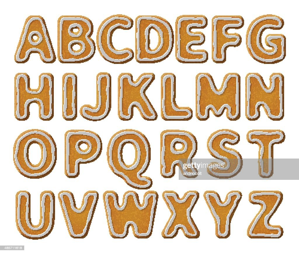 Gingerbread alphabet with glaze