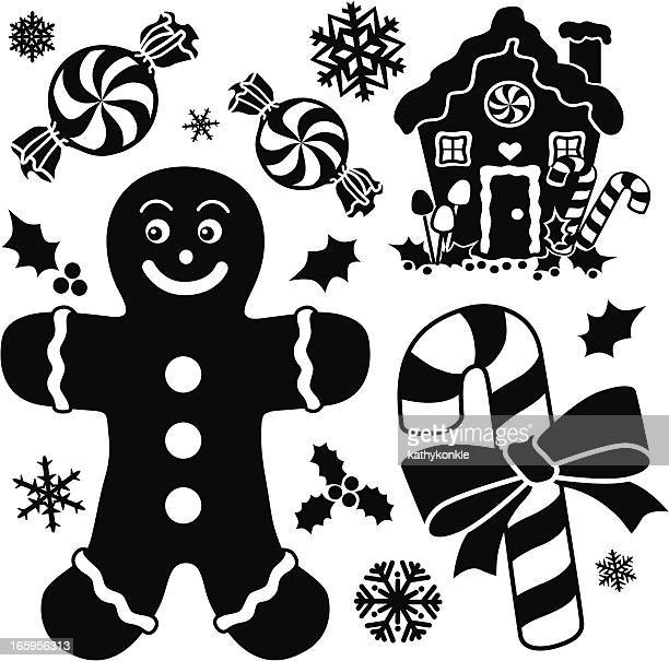 gingerbread and peppermint design elements - gingerbread house stock illustrations, clip art, cartoons, & icons