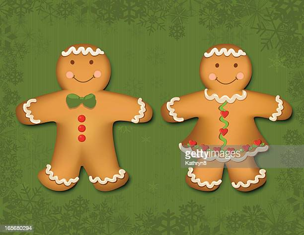 gingerbread boy and girl - gingerbread man stock illustrations