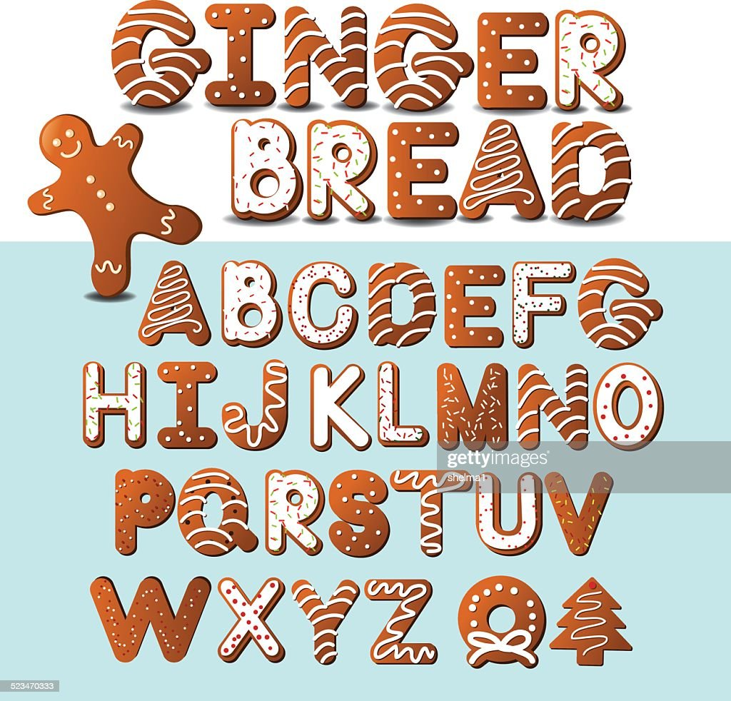 Gingerbread cookie alphabet