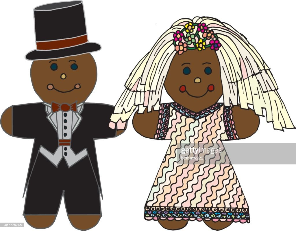 Gingerbread Cookie Bride Wearing Wedding Dress and Groom In Tux : stock illustration