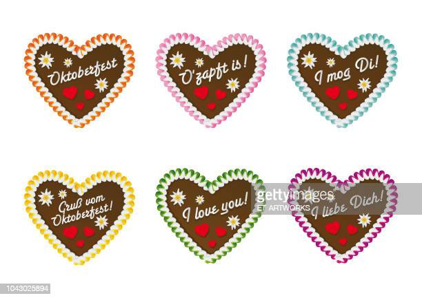 gingerbread cookie hearts - beer festival stock illustrations