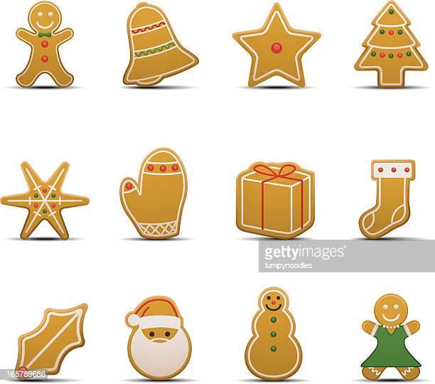 ilustraciones, imágenes clip art, dibujos animados e iconos de stock de iconos de galleta de jengibre - galletas navidad