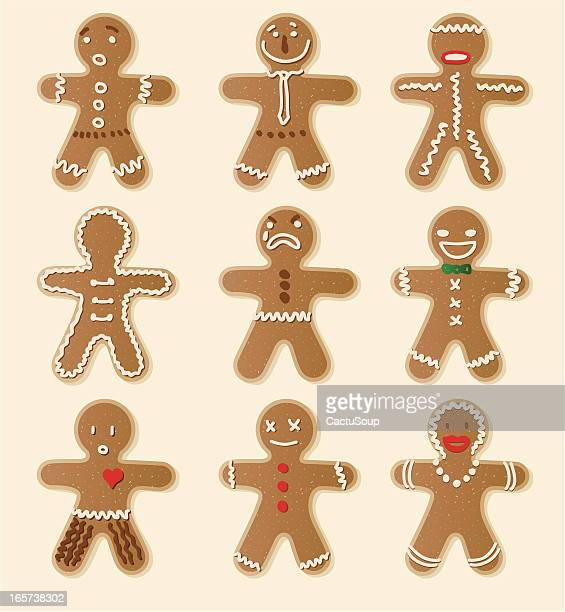 gingerbread cookie - figurine stock illustrations, clip art, cartoons, & icons