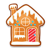 Gingerbread cookies house. Illustration of Merry Christmas sweets