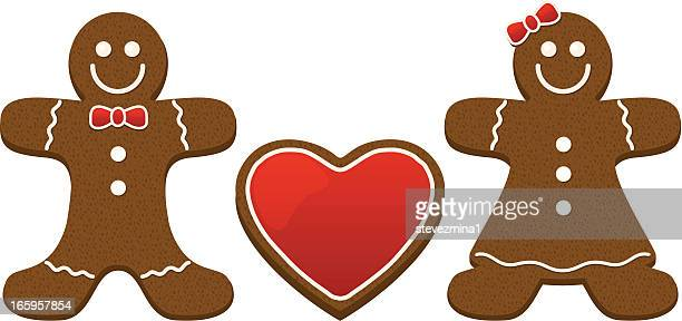 gingerbread couple - cracker snack stock illustrations, clip art, cartoons, & icons